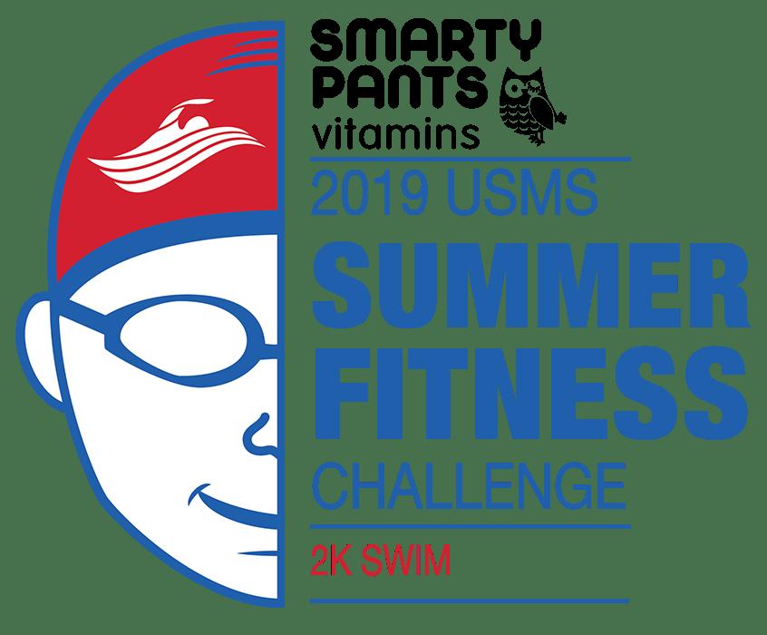 Smarty Pants 2019 USMS Summer Fitness Challenge 2K Swim Color Logo