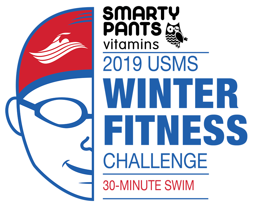 Smarty Pants 2019 USMS Winter Fitness Challenge 30-Minute Swim Color Logo