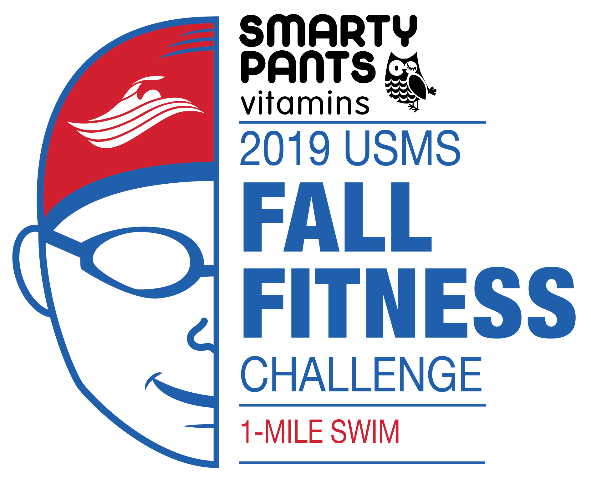 f604c992342 Smarty Pants 2019 USMS Fall Fitness Challenge 1-Mile Swim Color Logo