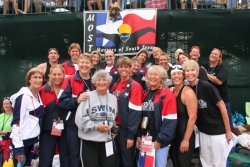 Coach, Susan Ingraham, at Masters World Championships