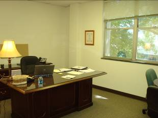 Rob's office furniture was donated and provides plenty of work space
