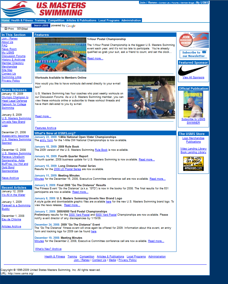 January, 2009 USMS Website