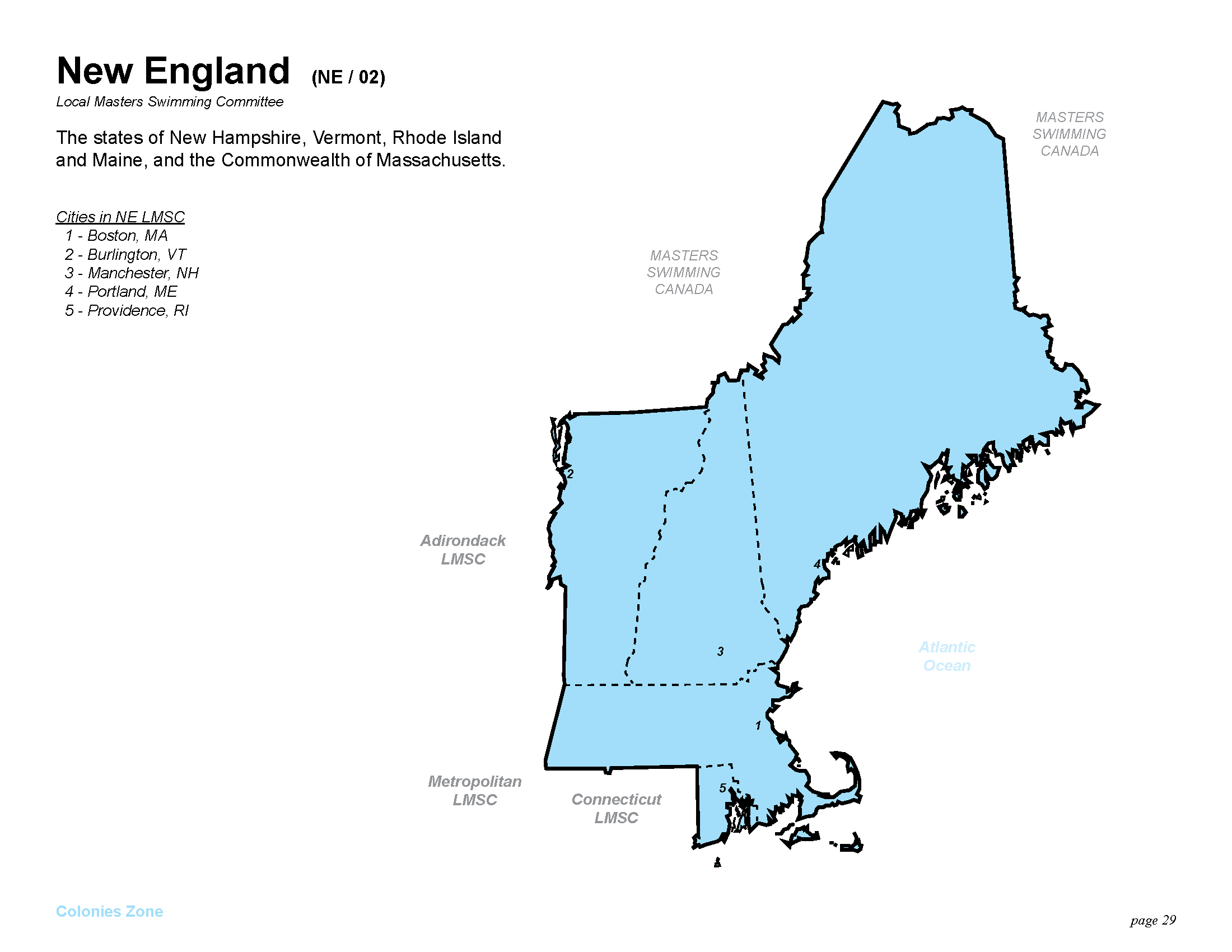 US Masters Swimming New England LMSC - Map Us States New England