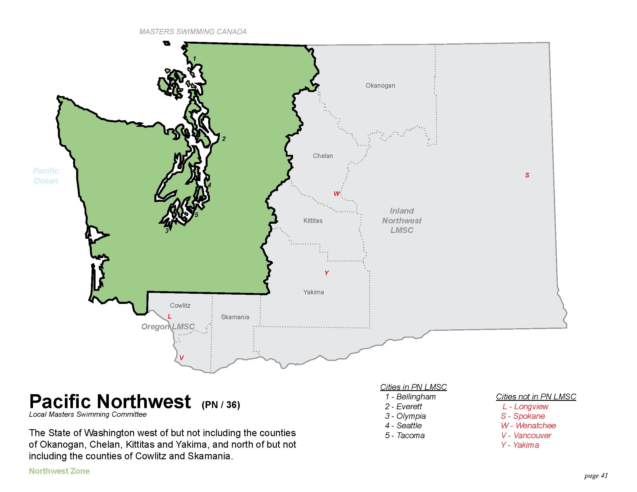 US Masters Swimming Pacific Northwest LMSC - Map of northwest us