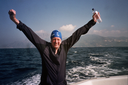 Steve Wargo after finishing swimming the Strait of Gibraltar