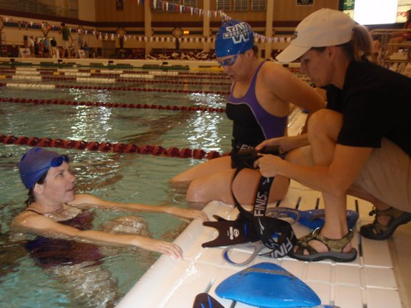 Kris Houchens coaching on deck at SwimFest '09