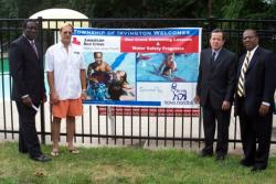 Kick-off day for Irvington's new learn-to-swim program: Ray Shepherd, CEO, American Red Cross, Mike