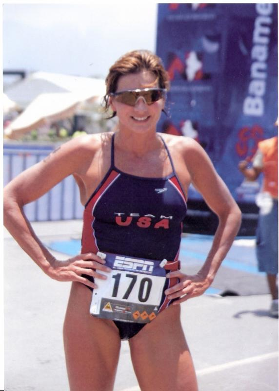 Darcy LaFountain at the finish of the 2008 World Aquathlon Championships in Mexico