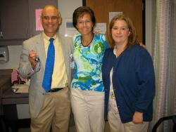 Pam McFarland w/her doctor and nurse
